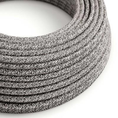Okrúhly textilný elektrický kábel, bavlna - tvíd farba čierny ónyx ľan prírodná neutrálna farba a trblietavá konečná úprava RS81