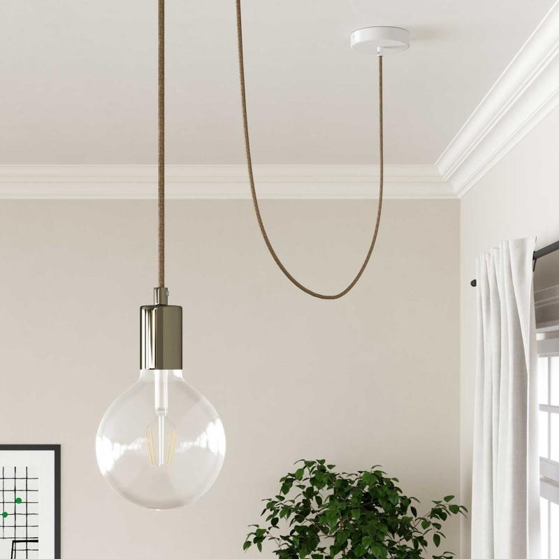 Okrúhly textilný elektrický kábel, bavlna - tvíd hnedá farba, ľan prírodná neutrálna farba a trblietavá konečná úprava RS82