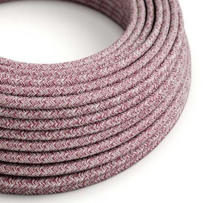 Okrúhly textilný elektrický kábel, bavlna - tvíd bordová farba, ľan prírodná neutrálna farba a trblietavá konečná úprava RS83