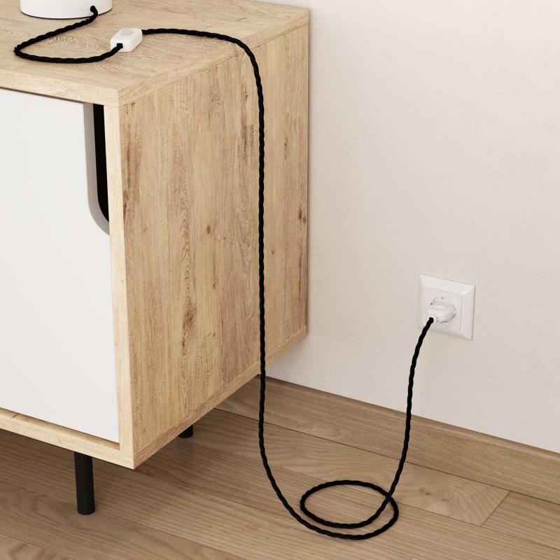 Stočený textilný elektrický kábel, bavlna, jednofarebný, TC04 Čierna