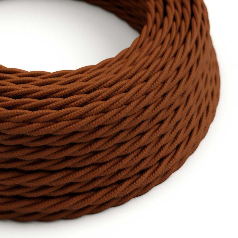Stočený textilný elektrický kábel, bavlna, jednofarebný, TC23 Jelenia hnedá