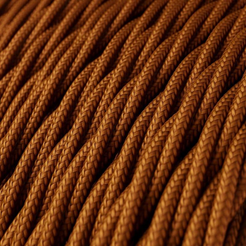 Stočený textilný elektrický kábel, umelý hodváb, jednofarebný, TM22 Whisky
