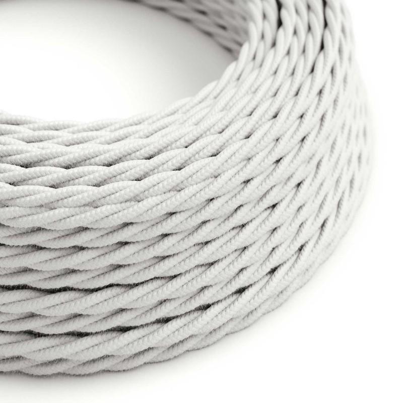 Stočený textilný elektrický kábel, bavlna, jednofarebný, TC01 Biela