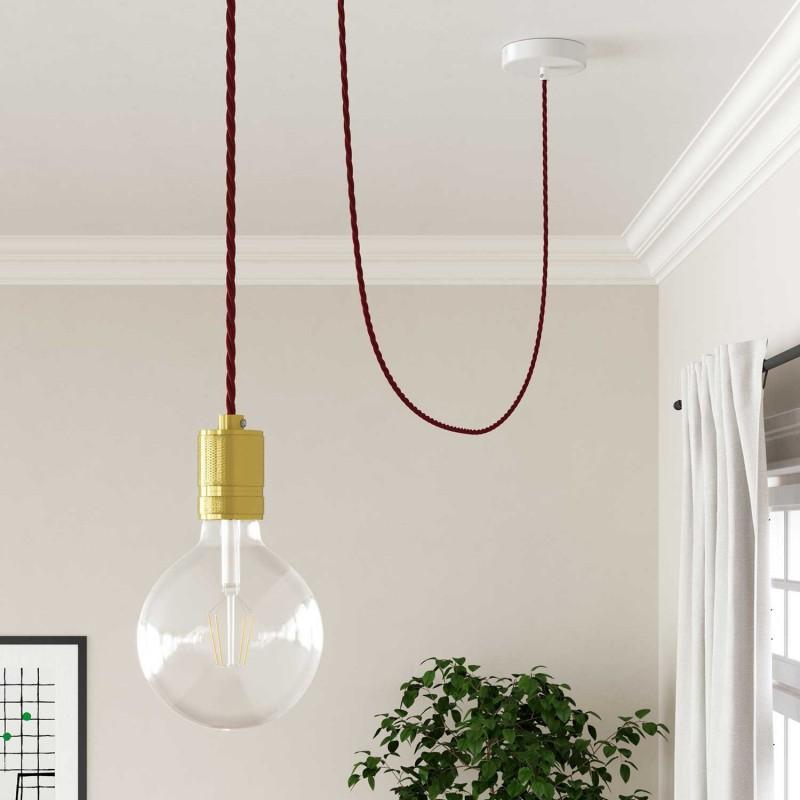 Stočený textilný elektrický kábel, umelý hodváb, jednofarebný, TM19 Bordová