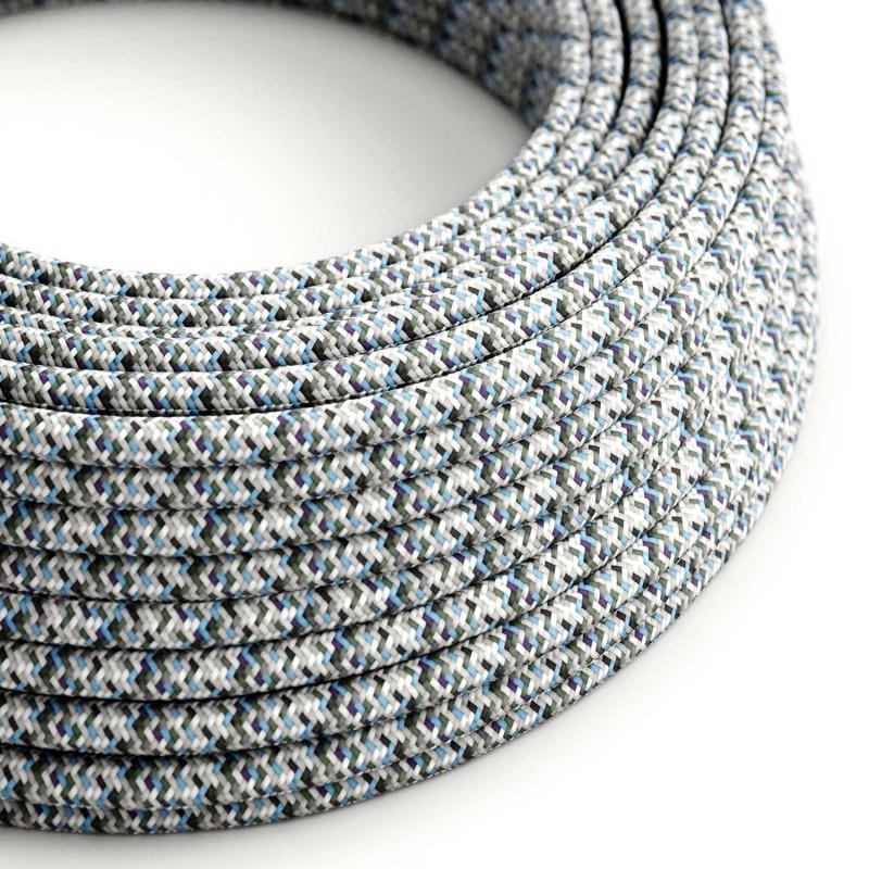 Okrúhly textilný elektrický kábel, umelý hodváb, pixelovaný, RX04 Pixel ľadová