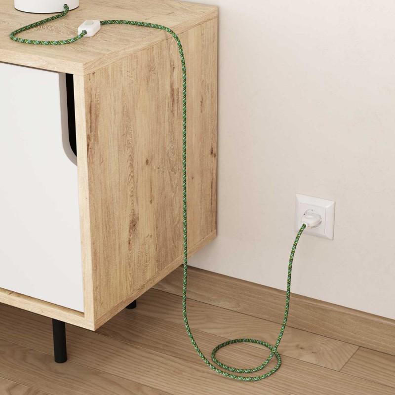 Okrúhly textilný elektrický kábel, umelý hodváb, pixelovaný, RX05 Pixel zelená