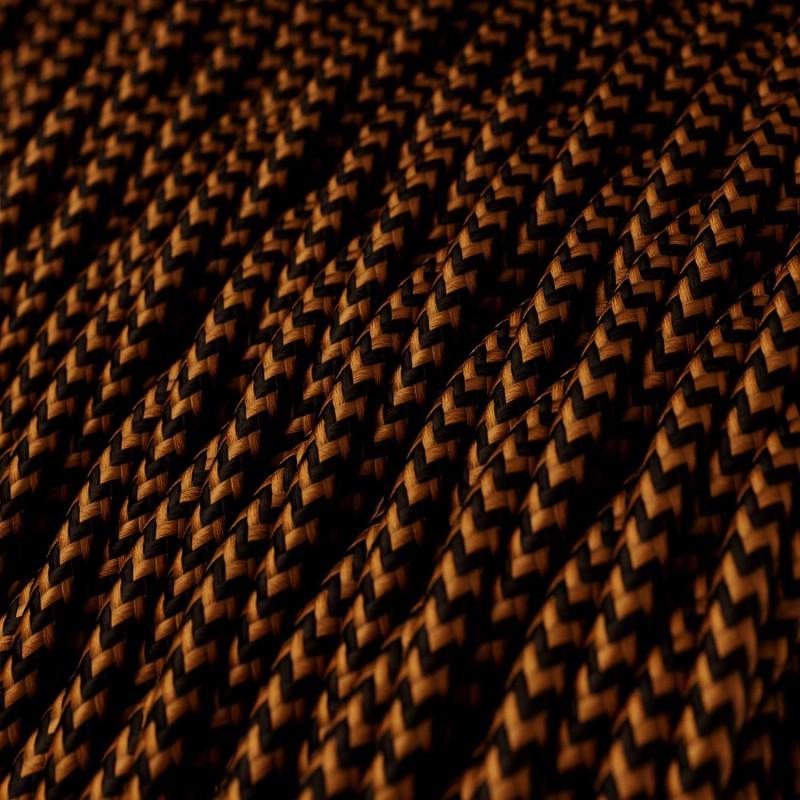 Stočený textilný elektrický kábel, umelý hodváb, dvojfarebný, TZ22 Čierna a Whisky