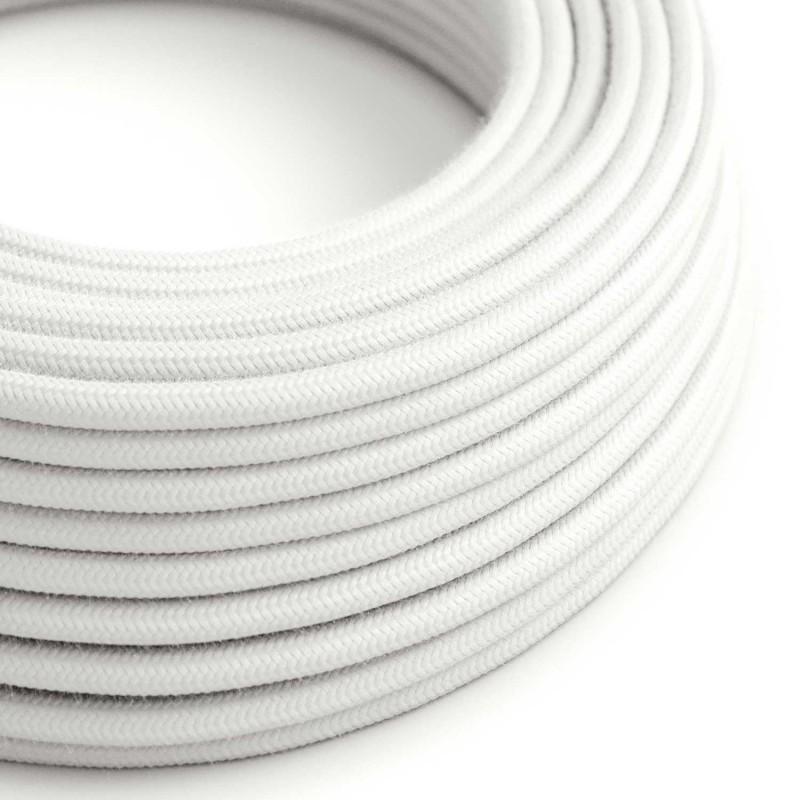 Okrúhly textilný elektrický kábel, bavlna, jednofarebný, RC01 Biela