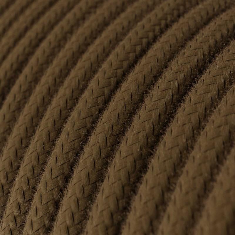 Okrúhly textilný elektrický kábel, bavlna, jednofarebný, RC13 Hnedá