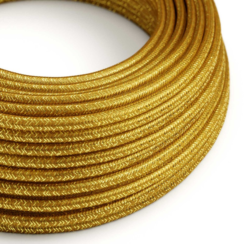 Okrúhly textilný elektrický kábel - lesklý, umelý hodváb, jednofarebný, RL05 Zlatá