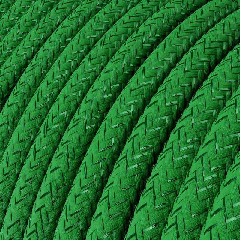 Okrúhly textilný elektrický kábel - lesklý, umelý hodváb, jednofarebný, RL06 Zelená