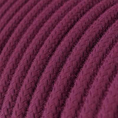 Okrúhly textilný elektrický kábel, bavlna, jednofarebný, RC32 Bordová