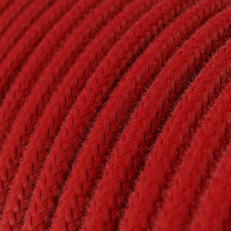 Okrúhly textilný elektrický kábel, bavlna, jednofarebný, RC35 Ohnivo červená