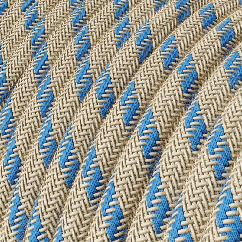 Okrúhly textilný elektrický kábel, bavlna - pruhy modrá farba, ľan prírodná neutrálna farba RD55