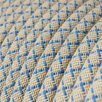 Okrúhly textilný elektrický kábel, bavlna - kosoštvorce modrá farba, ľan prírodná neutrálna farba RD65