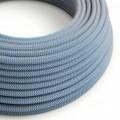 Okrúhly textilný elektrický kábel, bavlna - CikCak modrá farba, ľan prírodná neutrálna farba RD75