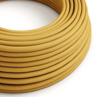 Okrúhly textilný elektrický kábel, umelý hodváb, jednofarebný, RM25 Horčicová