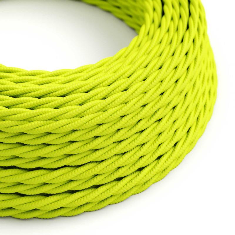 Stočený textilný elektrický kábel, umelý hodváb, jednofarebný, TF10 Fluo žltá