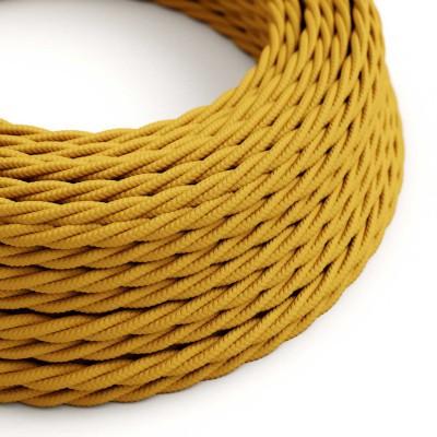 Stočený textilný elektrický kábel, umelý hodváb, jednofarebný, TM25 Horčicová