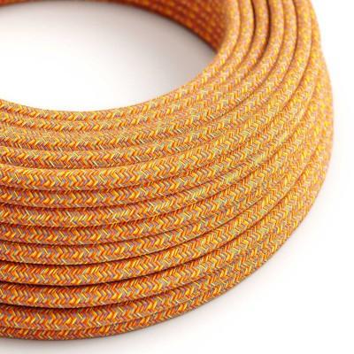 Okrúhly textilný elektrický kábel, bavlna, farba indiánske leto RX07