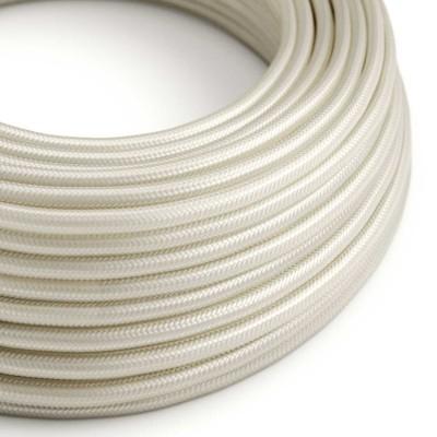 Okrúhly textilný elektrický kábel, umelý hodváb, jednofarebný, RM00 Slonovinová