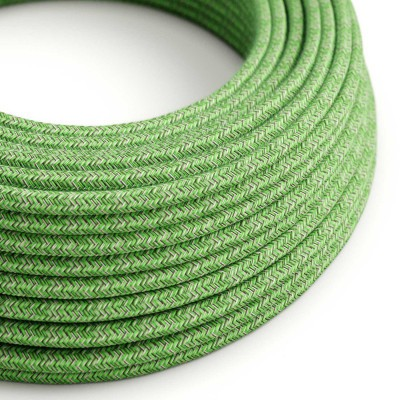Okrúhly textilný elektrický kábel, bavlna, RX08 Zelený mix