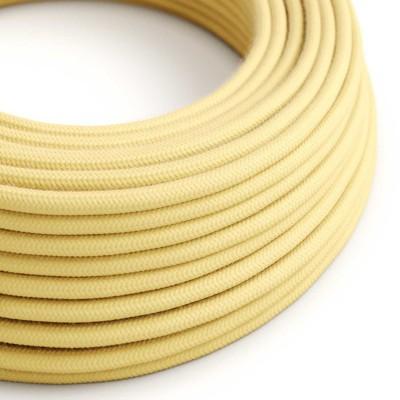 Okrúhly textilný elektrický kábel, bavlna, jednofarebný, RC10 bledo žltý