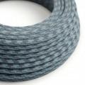 Okrúhly textilný elektrický kábel, bavlna, dvojfarebný, RP25 kameňovo šedý a oceán