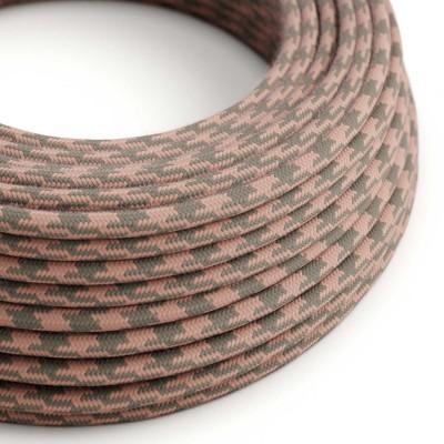 Okrúhly textilný elektrický kábel, bavlna, dvojfarebný, RP26 staroružový a šedý