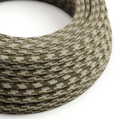 Okrúhly textilný elektrický kábel, bavlna, dvojfarebný, RP30 tymiánovo zelený a holubica