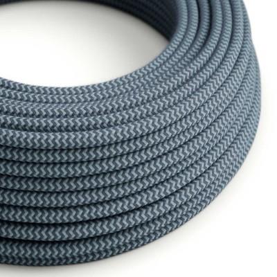 Okrúhly textilný elektrický kábel, bavlna, CikCak, RZ25 kameňovo šedý a oceán