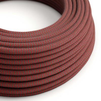 Okrúhly textilný elektrický kábel, bavlna, CikCak, RZ28 ohnivo červený a šedý