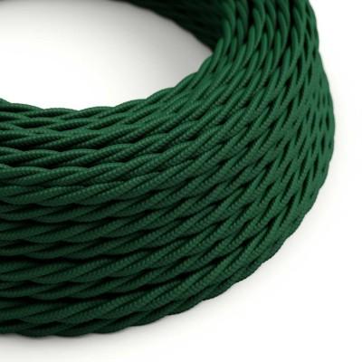 Stočený textilný elektrický kábel, umelý hodváb, jednofarebný, TM21 Tmavo zelený