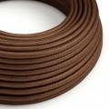 Okrúhly textilný elektrický kábel, umelý hodváb, jednofarebný, RM36 hrdzavý hnedý