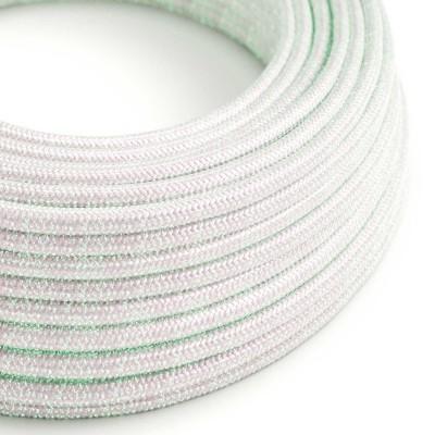 Okrúhly textilný elektrický kábel - lesklý, umelý hodváb, jednofarebný, RL00 dúhový