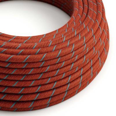 Textilný elektrický kábel opletený bavlnou Vertigo ERC36 - tehlový a svetlo modrý