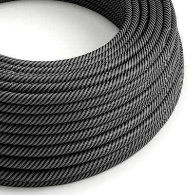 Textilný elektrický HD kábel s tenkými pruhmi Vertigo ERM38 - grafit a čierna