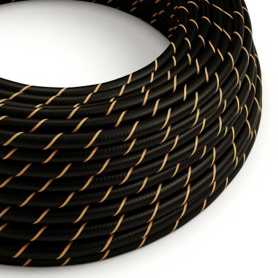 Textilný elektrický HD kábel pruhovaný Vertigo ERM42 - čierna a zlatá