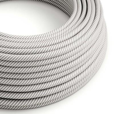 Textilný elektrický HD kábel pruhovaný Vertigo ERM46 - biela a hliníková