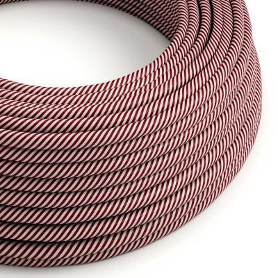 Textilný elektrický HD kábel pruhovaný Vertigo ERM47 - ružová a gaštanovo hnedá