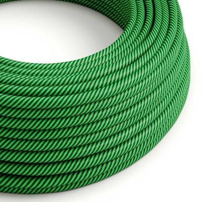 Textilný elektrický HD kábel pruhovaný Vertigo ERM48 - kiwi a tmavozelená