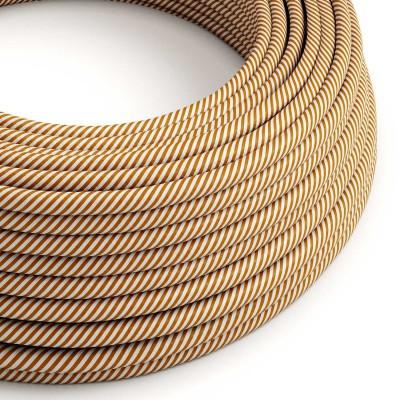 Textilný elektrický HD kábel pruhovaný Vertigo ERM49 - biela a whisky