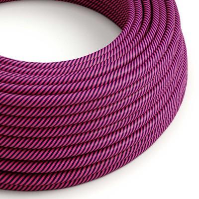 Textilný elektrický HD kábel pruhovaný Vertigo ERM50 - fuchsiová a tmavo fialová