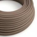 Textilný elektrický HD kábel pruhovaný Vertigo ERM51 - piesková a tmavo hnedá
