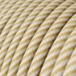 Textilný elektrický HD kábel pruhovaný Vertigo ERM53 - krémová a oriešková