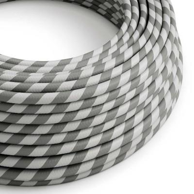 Textilný elektrický HD kábel pruhovaný Vertigo ERM55 - strieborná a šedá