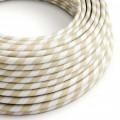 Textilný elektrický HD kábel so širokými pruhmi Vertigo ERM56 - krémová a oriešková