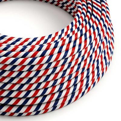 Textilný elektrický HD kábel pruhovaný Vertigo ERM57 Paris - biela, modrá a červená