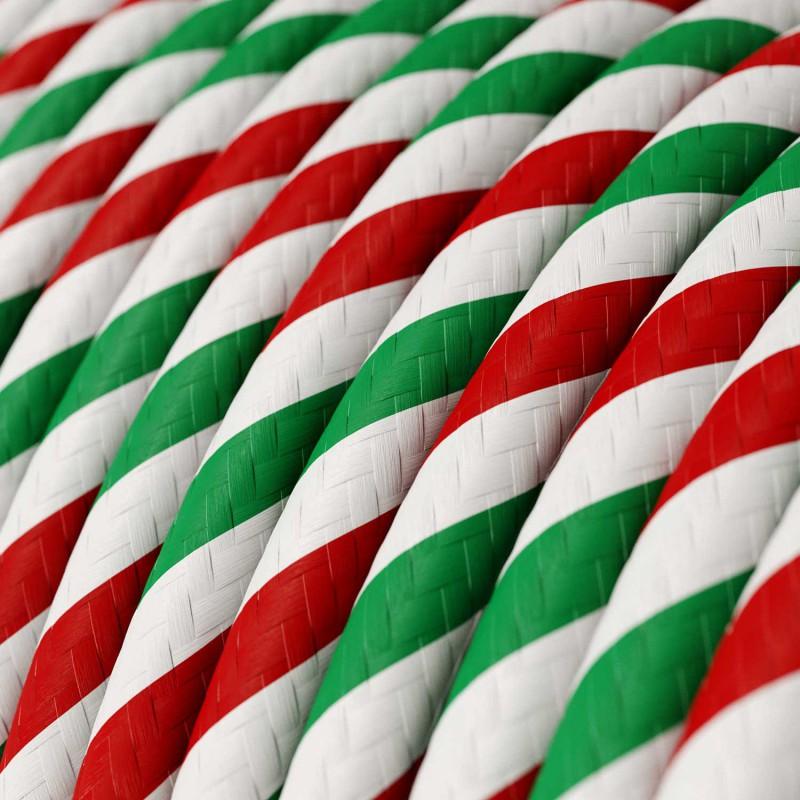 Textilný elektrický HD kábel pruhovaný Vertigo ERM58 Rome - zelená, biela, červená