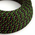 Textilný elektrický HD kábel pruhovaný Vertigo ERM62 Mr Smith - žltá, červená, zelená, modrá